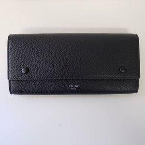 Céline Large Multi Function Leather Wallet - Black